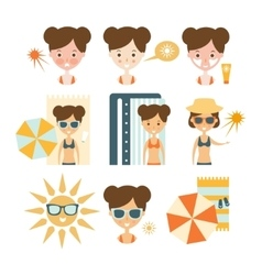 Woman tanning and using skin protection vector