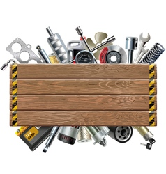 Wooden Board with Car Spares vector image vector image