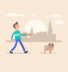 Young man walks in the park with his dog vector