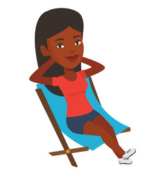 Young woman sitting in folding chair vector