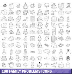 100 family problems icons set outline style vector