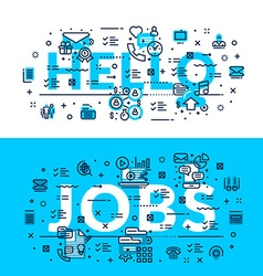 Words hello and jobs modern heading title web vector
