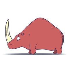 Cartoon prehistoric rhino isolated on white vector