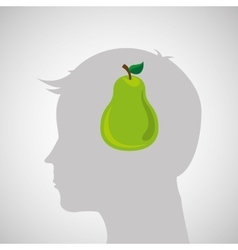 Silhouette head with tasty pear icon graphic vector