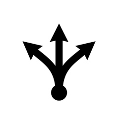 Three-way directional black arrow vector image