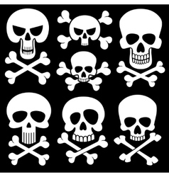 Piracy skull and crossbones icons death vector