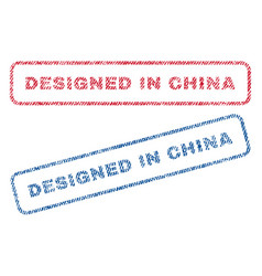 Designed in china textile stamps vector
