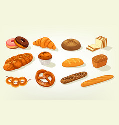 Sliced butterbrot bread and baguette cake vector