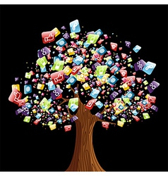 Smart phone application tree vector image