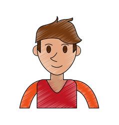 Color pencil cartoon front view half body man with vector