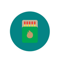 Stylish icon in circle matchbox and matches vector