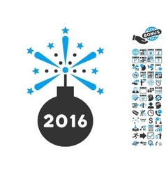 2016 fireworks detonator flat icon with vector