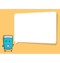 Smart phone cartoon with speech bubble vector