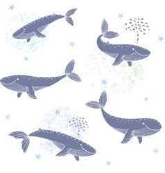 whales seamless vector image
