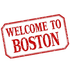 Boston - welcome red vintage isolated label vector