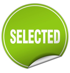 Selected round green sticker isolated on white vector