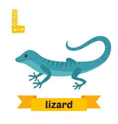 Lizard l letter cute children animal alphabet in vector