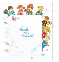 Background with look out of the banner kids vector image