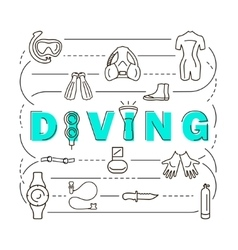 Banner scuba diving equipment vector