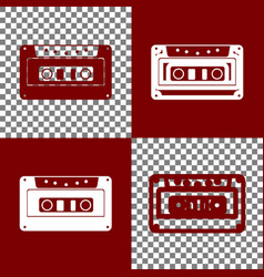 cassette icon audio tape sign bordo and vector image