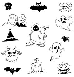 Character ghost halloween in doodle vector