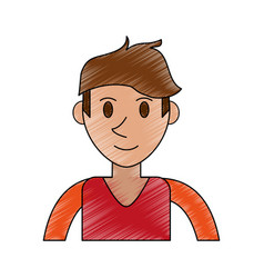 Color pencil cartoon front view half body man with vector