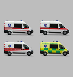 emergency ambulance set special medical vehicles vector image vector image