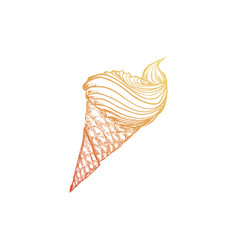 Glass ice cream sketch vector