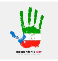 Handprint with the flag of equatorial guinea in vector