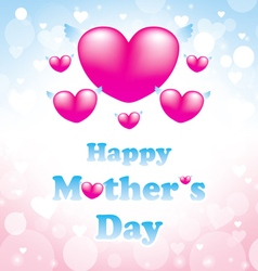 happy mothers day greeting card with heart pink vector image vector image
