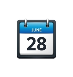 June 28 calendar icon flat vector