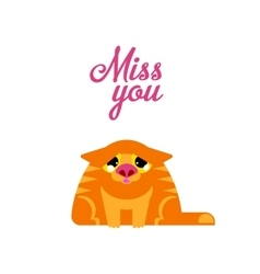 Miss you red cat vector