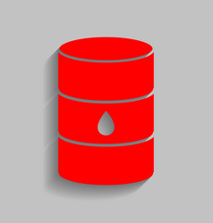 Oil barrel sign red icon with soft shadow vector