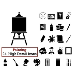 Set of 24 artist icons vector