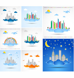Set of city abstract backgrounds vector