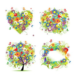 summer tree frame vector image