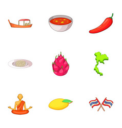 thailand day icons set cartoon style vector image