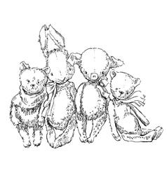 Vintage toys sketch vector