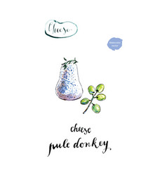 watercolor homemade cheese pule donkey vector image vector image