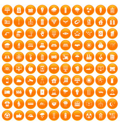 100 solar energy icons set orange vector