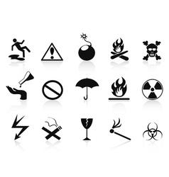 black warning icons set vector image