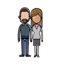 Drawing couple lovely together relationship image vector