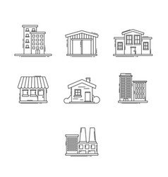 Buildings outline set vector
