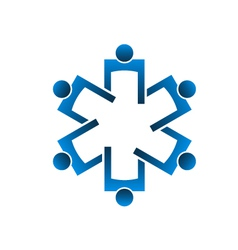 Team of persons forming the medical symbol vector