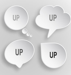 Up white flat buttons on gray background vector