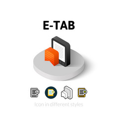 E-tab icon in different style vector