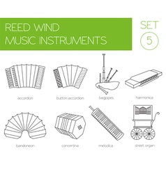 Musical instruments graphic template reed wind vector