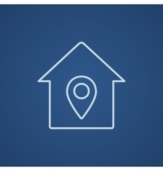 House with pointer line icon vector