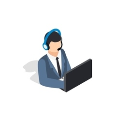 Online consultant icon isometric 3d style vector