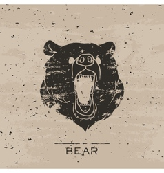 Big black bear roaring vector